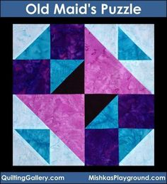 Block Library: Old Maid's Puzzle FREE-Tutorial created by: Michele Foster Finished block sizes: and square Skill level: Advanced Beginner Techniques: Piecing Quilt Square Patterns, Easy Quilt Patterns, Pattern Blocks, Square Quilt, Quilting For Beginners, Quilting Tutorials, Quilting Ideas, Puzzle Quilt, Quilt Blocks