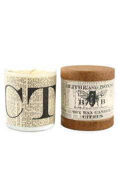 """Handcrafted of natural soy wax, scented with enduring phthalate-free fragrances and lit by a lead-free wick, this eco-friendly candle will add warmth to any room.    Dimensions:40 hour burn time 3.5""""H, 3""""W 11 oz   Citrus Candle by Blithe and Bonny. Home & Gifts - Home Decor - Candles & Scents Portland, Oregon"""
