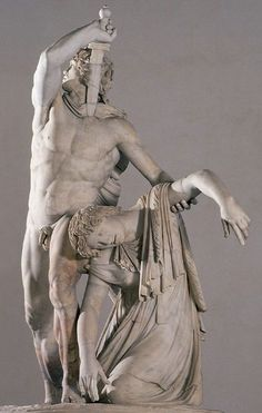 """HELLENISTIC: Gallic Chiefton Killing Himself and his Wife, Roman marble copy after the original bronze from Pergamon. c. 230 BCE. National Museum, Rome. The defeat of the """"barbarian"""" Gauls is major theme in the Pergamon sculpture groups."""