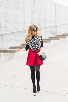 red skater skirt with tights black and white check scarf brightontheday winter outfit 17