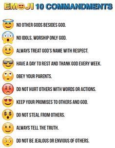 FREE Emojis 10 Commandments Printable
