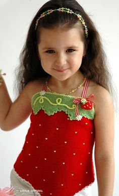 Strawberry Top Pattern $9.95, knitted with crochet details