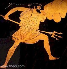 Poseidon from a painting depicting his battle with the giant Polybotes. The god wields his trident in one hand and the rock of Nisyros in the other.