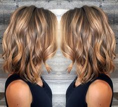 Brown Lob With Caramel Highlights