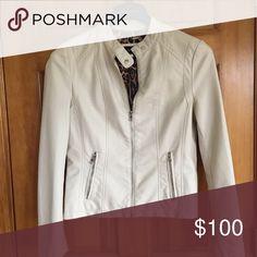 Jacket White leather jacket with button collar Black Rivet Jackets & Coats Utility Jackets