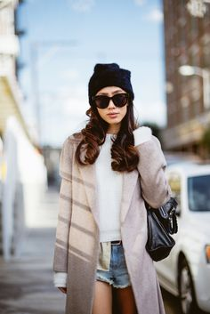 Street style - how to wear denim shorts in Winter - throw over a poncho or blanket coat..x