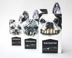 These Whitebites were a student project on Packaging of the World. I love the clever packaging for this, using the bones as the teeth when you open the box. I also like the color and font choice being simple and not too bold, as to not take away from the mouth.