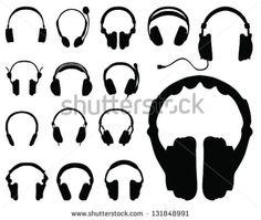 Black silhouettes of headphones-vector