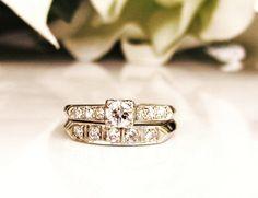 Antique Engagement Ring Set 0.68ctw by LadyRoseVintageJewel