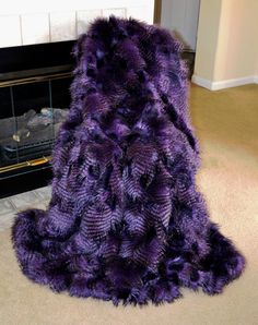6ft Faux Fur Light Purple Shaggy Mink Throw Blanket Bed
