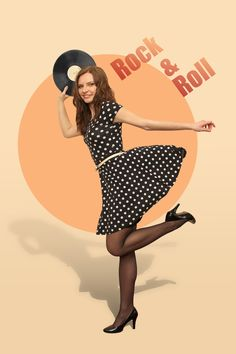 rock&roll Pin-up color girl poster