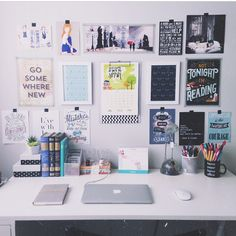i like the focus on wall space instead of desk space. you're likely to have more of the former in a dorm!