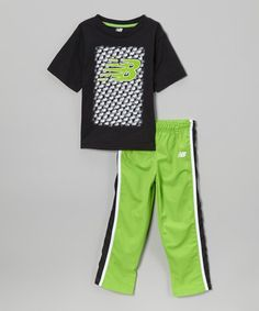 Look at this #zulilyfind! Black & Green Tee & Track Pants - Infant & Toddler by New Balance #zulilyfinds