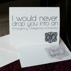 Portal companion cube love card. $4.00, via Etsy.
