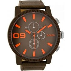 OOZOO Large Τimepieces Brown Leather Strap