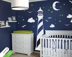 Vinyl wall decal lighthouse moon stars wall by HappyPlaceDecals, $60.00