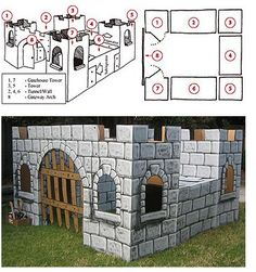 Megan at Not Martha found this great site called Mr. McGroovy's Box Rivets where you can get the plans to build a cardboard castle, fire engine and get lot