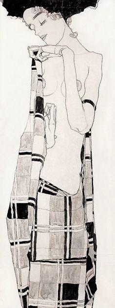 Egon Schiele. Standing Girl in Plaid Dress, 1908-09.