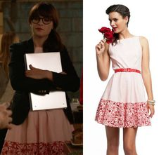 """Jess Day (Zooey Deschanel) wears a red and white dot dress with flower embroidered hem by Eva Franco in New Girl episode """"Shark"""""""