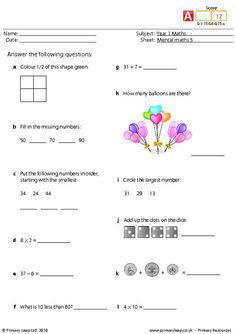This is a mental maths worksheet for year one. There are twelve questions that should be answered as quickly as possible. Math Quizzes, Math Addition Worksheets, 3rd Grade Math Worksheets, Math 2, Word Puzzles For Kids, Math For Kids, Math Olympiad, Olympiad Exam, Math Pages
