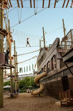 Voiles en Voiles at the Old Port in Montreal has a rad playground and an aerial ropes course on a pirate ship. Montreal With Kids, Cool Places To Visit, Places To Go, Outdoor Play Structures, High Ropes Course, Canada Destinations, Overseas Travel, Visit Canada, Old Port
