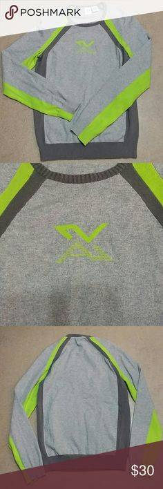 Armani Exchange Sporty Sweater (S) - Armani Exchange sporty sweater - light gray with dark gray and lime green - lime green front logo - long sleeves - bust: 16 inches - length: 25 inches - sleeves: 25 inches  No trades. No modeling. No PayPal.  64% cotton, 36% nylon Armani Exchange Sweaters Crew & Scoop Necks