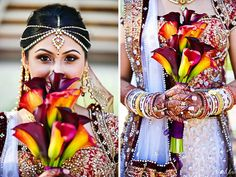 Red white gold and purple bridal lehenga.  Colorful bridal bouquet