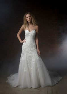 Sweetheart Fit and Flare Wedding Dress  with No Waist/Princess Seams in Lace. Bridal Gown Style Number:33164542