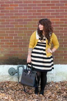 Yellow cardigan is a great pop of color with this striped dress.-TMC~~Plus size Stripe Dress.  I need a new one.