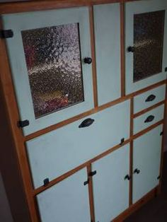 Upcycled art deco bow front leadlight kitchen dresser for Kitchen cabinets gumtree