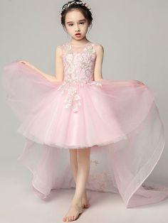 Embroidery Color Block Mesh Applique Round Collar Sleeveless Long Dress. Ragazze  Della Sfilata ... cb994740458
