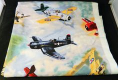 "USPS Fabric Vintage Military Airplanes Retired 37"" x 43"" #VIPbyCranston"