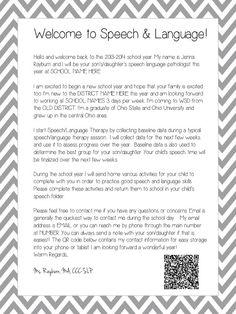 Speech Room News: SLP Welcome Letters,Attendance, Billing Speech Language Therapy, Speech Language Pathology, Speech And Language, Speech Therapy Organization, Letter To Parents, Parent Letters, Welcome Letters, Speech Room, Speech Therapy Activities
