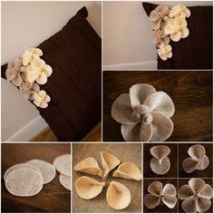 Una idea genial para hacer flores de fieltro originales y atractivas para colocar en la funda de un cojín que se verá precioso y sin tener que gastar mucho