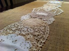 burlap table runner | Burlap and Lace Table Runner