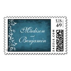 Custom Blue Swirls Wedding Postage Stamps #Country #Wedding #Postage #Stamps
