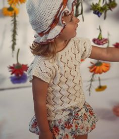 Knit top handmade of Van Beren Organic Cotton Yarn for baby girls and toddler in ajour zig zag knit pattern. Cotton Plant, Organic Cotton Yarn, Natural Clothing, Knit Patterns, Zig Zag, Knitted Fabric, Baby Girls, Knits, Hand Knitting