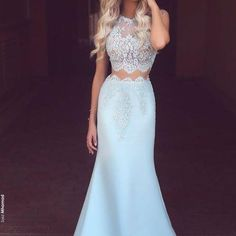 Light Blue Prom Dresses,Satin Prom Dress,Two Pieces Party Dress,Round Neck Mermaid Prom Dresses