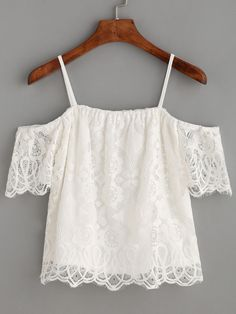 White Cold Shoulder Eyelash Lace Top
