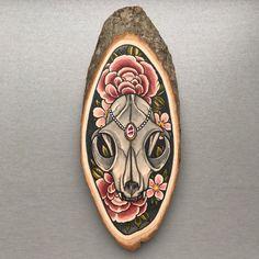 Wood slice with an original drawing of a cat skull door Inkspirednl