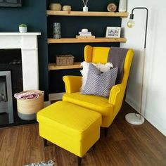 Take a look at how has created the perfect reading corner using the bright yellow STRANDMON wing chair. The STRANDMON… Teal Living Rooms, Ikea Living Room, Living Room Chairs, Dining Room, Ikea Armchair, Yellow Armchair, Yellow Chairs, Ikea Yellow Chair, Reading Nooks