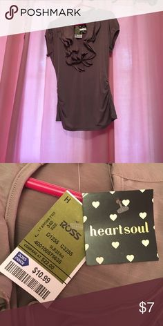 Light brown ruffled shirt Gathered sides; new with tags. If you have any questions, please let me know 😊 HeartSoul Tops Blouses