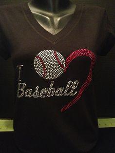 I Love Baseball V-Neck Rhinestone Tee - Black Monday / Cyber Monday