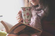 girl mug floral book photography