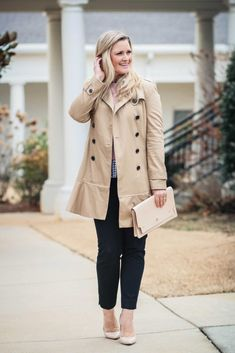 how to style a trench coat to create a great classic outfit with black pants and nude pumps