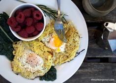 Great V-Day Breakfast!  Rosemary Spaghetti Squash Egg Nests (GAPS, Paleo)