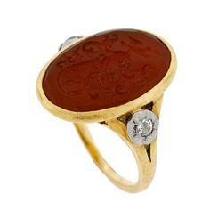 A Brandt and Son - Georgian 18kt Diamond & Carnelian Signet Ring