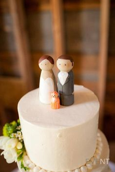 Custom Peg Doll Wedding Cake Topper Set 3 1 2 Personalized Couple Bride Groom Toppers