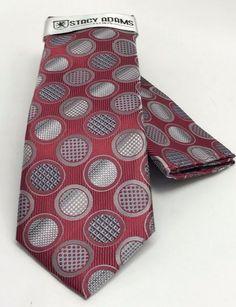 Stacy Adams Tie & Hanky Set Medium Red Gray & Silver Polka Dots Men's Microfiber #StacyAdams #Set