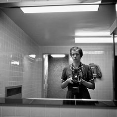 Perhaps this is the first bathroom mirror self-portrait before Facebook made it infamous...at least she's not flexing her abs lol  Self Portrait, 1956   Vivian Maier